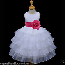 WHITE WEDDING FLOWER GIRL DRESS COMMUNION ORGANZA 12-18m 2 3 4 4T 5 5T 6 6X 8 10