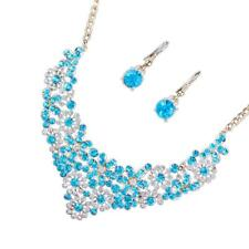 Women Lady Wedding Bridal Crystal Rhinestone Necklace Earrings Jewelry Set