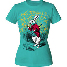 Alice's Adventures In Wonderland Late. Late. Late. Juniors Crewneck T-Shirt Tee