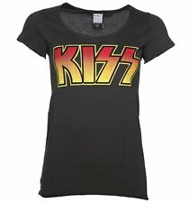 Official Women's Charcoal KISS Logo T-Shirt from Amplified