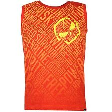 MENS NO FEAR RED MOTOCROSS MX DIRT BIKE SKULL LOGO VEST TEE SHIRT T-SHIRT TOP