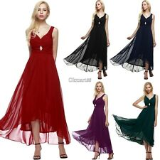 ANGVNS Women Sleeveless Ruched Chiffon Maxi Cocktail Party Evening Fromal OK01