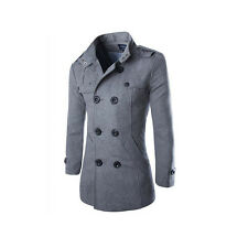 New Mens Fashion Double Breasted Overcoat Trench Coat Winter Warm Jacket Long