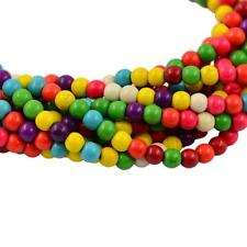 2 Strands 4-10mm Synthetic Turquoise MultiColor Loose Round Stone Spacer Beads