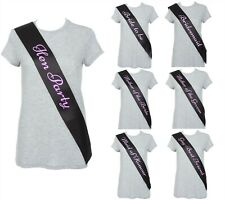 DELUXE BLACK & PINK ELEGANT HEN PARTY SASH FANCY DRESS HEN NIGHT LADIES SASHES
