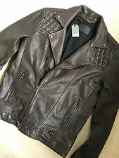 "ALL SAINTS BITTER BROWN ""CONROY"" CLASSIC LEATHER BIKER JACKET COAT M L NEW TAGS"