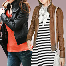 Ladies Long Sleeve Ribbed Hem Zip Closure Front Jacket Coat