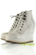 TOPSHOP GENUINE SUEDE LEATHER LACE UP WEDGE ANKLE BOOTS RARE and UNIQUE