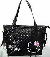 New Hellokitty Bright Black Handbag Shoulder Bag Purse AA-18B