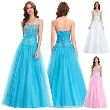 MAXI Long Crystal Bridesmaids Prom Ball Evening Corset Party Gown Dress Size2-16