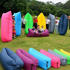 Portable Beach Sleeping Bag Camping Lounger Inflatable Sofa Air Bed With Cover