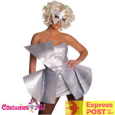 Ladies Licensed Lady Gaga 80s Costume Pop Rock Star Silver Fancy Dress Up Womens
