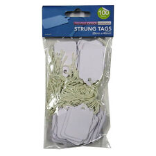 Premier White Strung Mini Tags - Pack of 100 / 200 - 4 Different Sizes Available