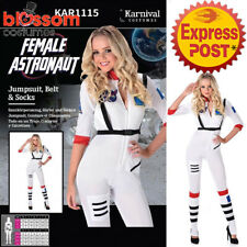 CA229 Female Astronaut White Space Girl Jumpsuit Bodysuit Costume Suit Outfit