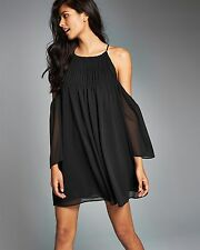 NEW Abercrombie & Fitch Cold Shoulder Shift Dress S Small Black $68 NWT