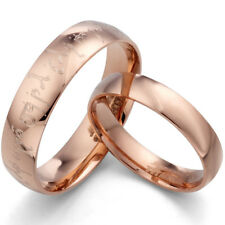 Couple Engagement Bands Rose Gold His $ Her Dome Titanium Wedding Rings AA20084