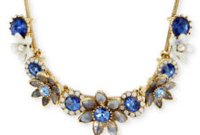 Betsey Johnson Blue Crystal White Flowers Statement Necklace  NWT