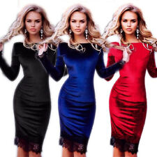Slim Sexy Fashion Hot Velvet Lace Women Party Dresses Sheath Long Sleeve