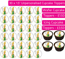 30 TINKERBELL EDIBLE WAFER & ICING CUPCAKES TOPPERS BIRTHDAY PARTY FAIRY CHILD
