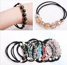 Women Girls Facted Glass Crystal Bead Hair Band Rope Elastic Ponytail Holder New