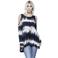 Tie dye cold shoulder tie dye navy to white long sleeve tunic cotton blend