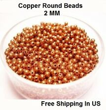 2 MM Copper Round Hollow Beads Hole 0.80 MM (Genuine Solid Copper)