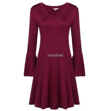 New Women Casual V-Neck Ruffle Long Sleeve Solid Pleated Dress WST01