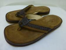 Tommy Bahama Anchors Away brown leather Sandals Flip Flops thongs beach mens 8