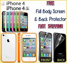 iPhone 4 4S TPU BUMPER Frame Only FREE Screen + Back Protector Fast Shipping NEW