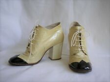 Chanel Beige Patent Leather Lace-Up Ankle Booties Black Cap Toe Heels 39