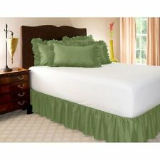 1 Qty Bed Skirt Ruffle/Gathering Egyp.Cotton Drop 8-30 Inch Moss Solid
