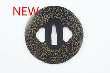 NEW *DIY  JAPANESE KATANA IRON TSUBA WITH PATTERN KATANA IRON TSUBA BLACK GOLDEN