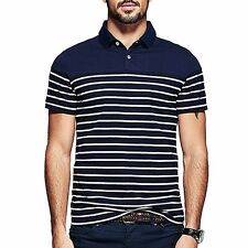 Mens 100% Cotton Polo Shirt Short Sleeve Button Striped T-shirt M~3XL NEW UK
