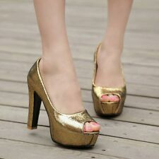 Womens Synthetic High Stiletto Heels Platforms Slip-on Open Toe Sandals Shoes
