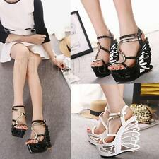 New Platform Wedge Party Womens Open Toe High Heel Ankle Strappy Sandals Shoes B