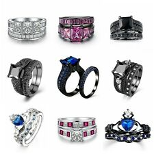 Women 18K White Black Platinum Plated Cubic Zirconia Ring Set Gift  Jewellery