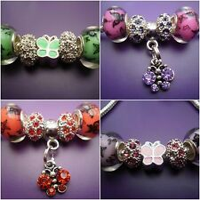5 Beads-Butterfly & rhinestone beads charms - fit /for European charm bracelets