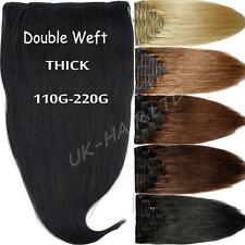 """10""""14""""16""""18"""" Thick Double Weft Clip In Remy Human Hair Extensions Full Head F176"""