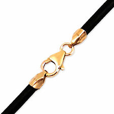 "3mm Black Round Leather Cord Necklace Choker 14K Gold Filled Clasp 26"" in NYC"