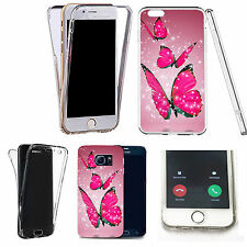 360° Silicone gel full body Case Cover for many mobiles - floating butterflies.