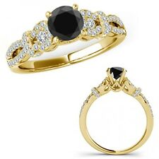 2.5 Carat Black Diamond Infinity Crossover Three Stone Ring Band 14K Yellow Gold