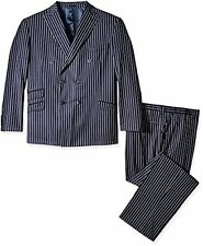 Stacy Adams Men's Big and Tall Sam Striped Double Brested 2 Piece Suit