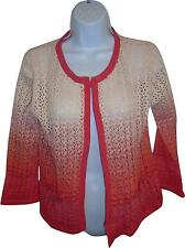 NEW Ladies Atmosphere Cream and Pink Washed Knitted Cardigan Size 10 (K.W)
