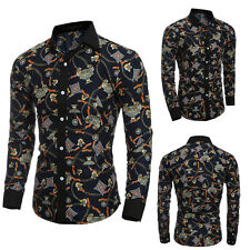 Men's Cotton Blend 3D Pattern Western Style Stylish Long Sleeve Printed Shirts G