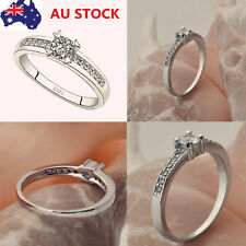 Women 18K 925 Sterling Silver Plated Heart Ring Retro Wedding Ring Jewelry Gift