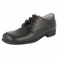 """SALE Startrite 'Mambo' Black Leather Lace Up 1"""" Block Heel School Shoes E Fit"""