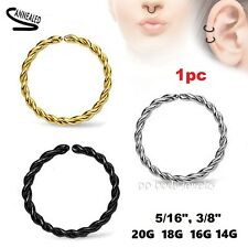 1pc Braided Plated Surgical Steel Annealed Seamless Hoop Cartilage Labret Septum
