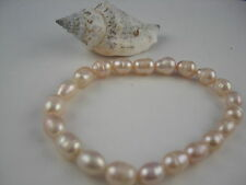 Fresh water Beads Bracelet elastic China Cultured pearls oval