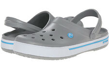 Crocs Crocband II.5 Light Grey / Electric Blue Unisex  Clog - Size M10-W12 NWOB