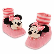 MINNIE MOUSE Slippers PLUSH Costume Baby Striped Infant Disney Store Pink Bow